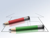 Scheme and pencil Royalty Free Stock Image