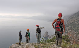 Scheme of the route. Discussion of the descent of the mountain route stock photo