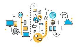 Scheme of saving cloud storage service for website banner Stock Photo