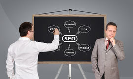 Scheme seo on blackboard Stock Photos