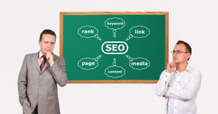 Scheme seo on desk Stock Photos