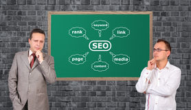 Scheme seo on desk Royalty Free Stock Photo