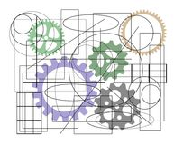 Scheme, sketch with machine elements, Royalty Free Stock Photos