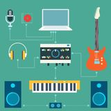Scheme of sound recording studio. Flat design Royalty Free Stock Image
