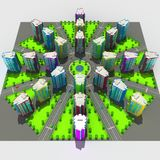 Scheme of the urban episode with the same type of building typical high-rise buildings. 3D illustration. Scheme of the urban episode with the same type of Vector Illustration