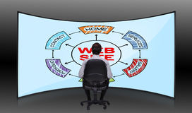 Scheme website. Businessman sitting in movie house and looking at plasma with scheme website Stock Photography