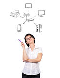 Scheme wi-fi. Businesswoman thinks about scheme wi-fi Royalty Free Stock Images