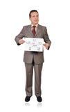 Scheme wi-fi. Businessman holding placard with scheme  wi-fi Stock Photo