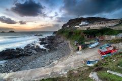 Schemer over Kaap Cornwall royalty-vrije stock afbeeldingen