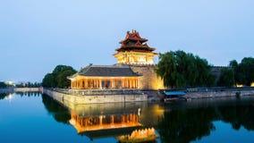 Schemering bij torentje van Verboden Stad, Peking, China stock video