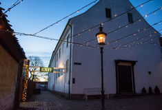 Schemering in de Oude Stad (ii) - Aarhus, Denemarken royalty-vrije stock foto's