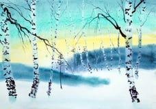 Schemering in het de winterbos royalty-vrije illustratie