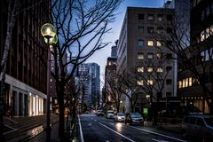 Schemering in Kobe stock fotografie