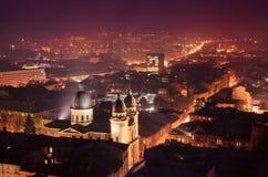 Schemering in Lviv Stock Foto