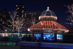Schemering, meer, bar, restaurant in Lincoln Park, Chicago stock afbeeldingen