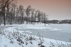 Schemering in oever van het meer Royalty-vrije Stock Foto
