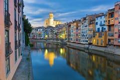 Schemering over Girona Royalty-vrije Stock Afbeelding
