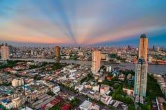 Schemeringmening Bangkok Royalty-vrije Stock Fotografie