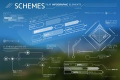 Schemes Flat Infographic Elements Collection. Corporate Infographic Elements is an excellent collection of vector graphs, charts and diagrams royalty free illustration