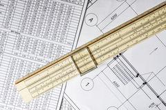 Schemes and slide rule Royalty Free Stock Photo