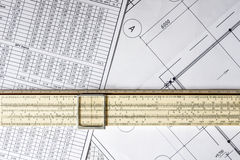 Schemes and slide rule Royalty Free Stock Images