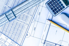 Schemes on the table, draw a pencil, draw a ruler and calculator Royalty Free Stock Photos