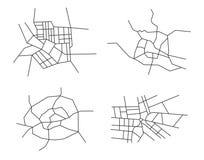 Schemi delle città - insieme Immagine Stock