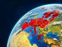 Schengen Area members on Earth with borders. Schengen Area members on realistic model of planet Earth with country borders and very detailed planet surface and royalty free stock photo