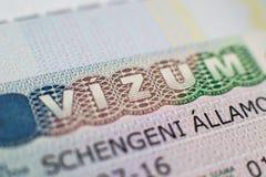 Schengen hungarian wiza zamknięta w górę zdjęcie royalty free