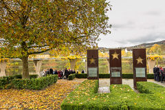 SCHENGEN, LUSSEMBURGO - NOVMEBER 6, 2015: Accordo di Schengen del monumento Fotografie Stock