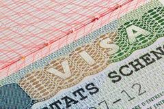 Schengen-Sichtvermerk im Pass Stockfoto