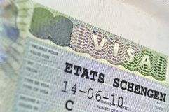 Schengen Visa Royalty Free Stock Images