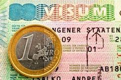Schengen Visa and Euro. Royalty Free Stock Photos