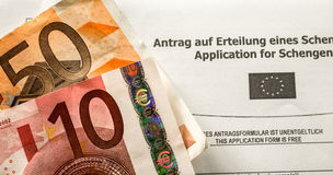 Schengen VISA fee with applicaton form Stock Photo