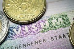Schengen Visa Stock Photography