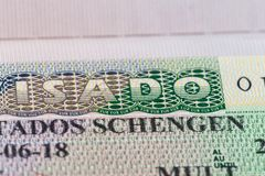 Schengen visa issued by the Embassy of Spain. royalty free stock photography