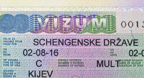 Schengen visa issued in Kiev closeup Royalty Free Stock Photography