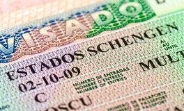 Schengen visa in passpor Stock Image