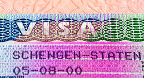 Schengen visa in passport Royalty Free Stock Photo