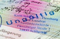 Schengen visa in passport Stock Image