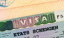 Schengen visa in passport Royalty Free Stock Images
