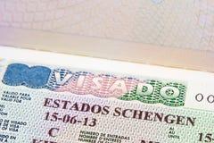 Schengen visa in passport Stock Photography