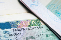 Schengen visa in passport Royalty Free Stock Image