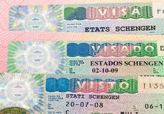 Schengen Visa on passport page Stock Photography