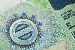 Schengen Visa in a passport page Stock Images