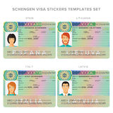 Schengen visa passport sticker templates for spain, lithuania, italy and latvia set Royalty Free Stock Photography