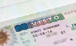 Schengen visa in the passport for a trip to Italy. Schengen visa in the passport for  new trip to Italy Royalty Free Stock Image
