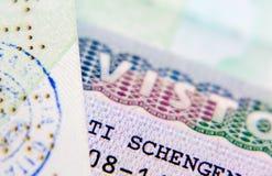 Schengen visa in the passport for a trip to Italy. Visa. Passport. Stamp in the passport. Schengen Royalty Free Stock Photos