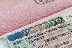 Schengen visa Stock Image
