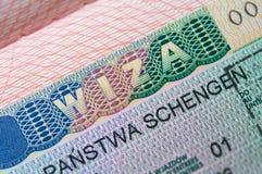 Schengen Visa. Tourisric Schengen Visa in passport Stock Photo